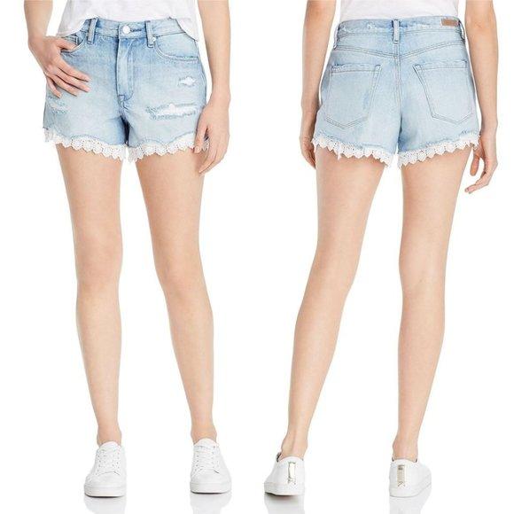 Blank NYC Pants - BLANK NYC Lace Eyelet-Trim High Rise Denim Shorts